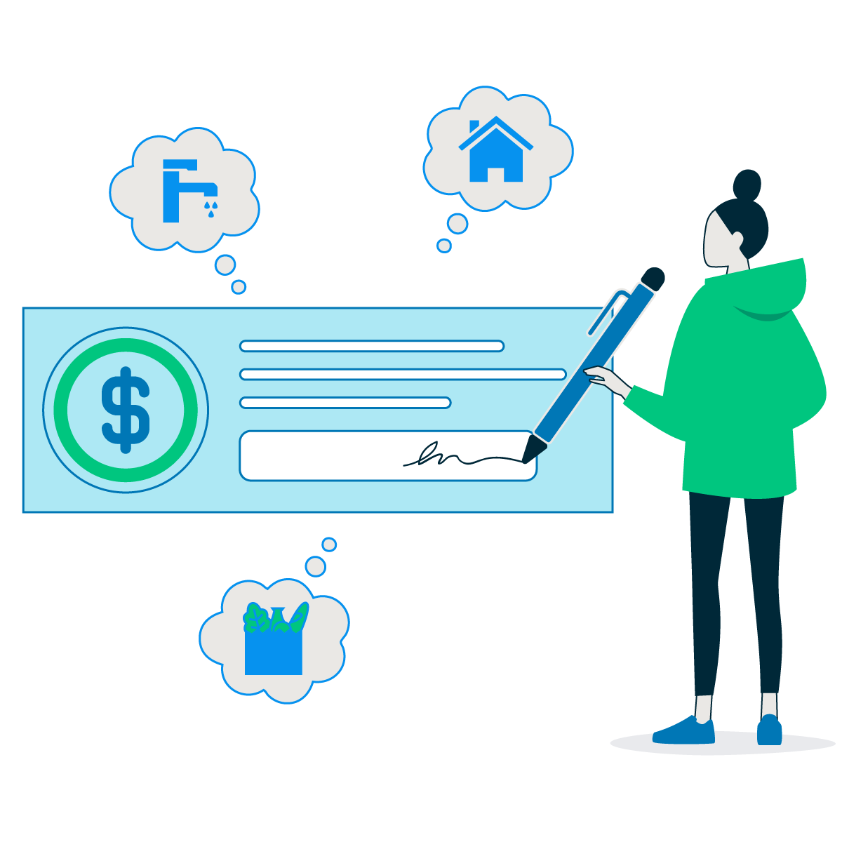 Illustration of woman signing a check to pay for bills like groceries and mortgage